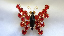 Vintage Dominique Hyacinth Black and Jonquil Rhinestone Butterfly Brooch... - $55.00