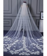 Junoesque Tulle Wedding Veil With Lace Appliques & Comb  - $72.95