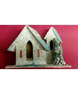 Vintage CHRISTMAS VILLAGE House White Glitter PUTZ Japan Paper Mache 1920's - $28.95
