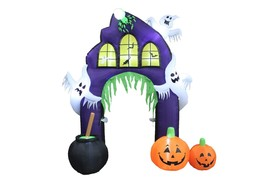 9 Foot Halloween Inflatable Ghost Castle Archway with Pumpkins Yard Deco... - $159.00