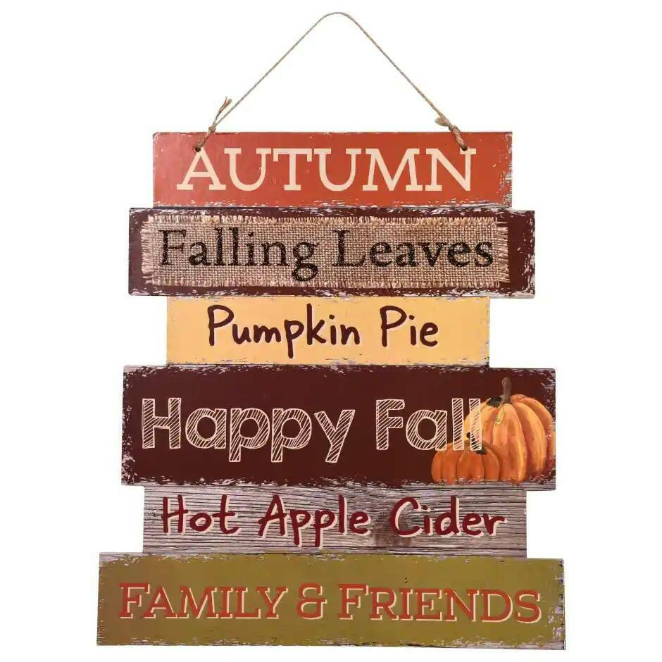Primary image for Harvest Welcome Sign Autumn Falling Leaves Happy Fall Pumpkin 10.5x11.5 in. w