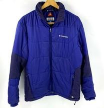 Columbia Omni Heat Therma Comfort Mens Puffer Coat Blue Zip Up Winter Ski - $39.60