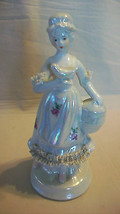 CERAMIC LADY WITH BIRD AND BIRDCAGE OPALESCENT FIGURINE - $29.70