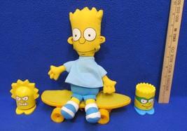 The Simpsons Bart Doll Skateboard & Burger King Bart and Lisa Pop Up Figures - $9.89