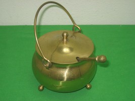Vintage Solid Brass Fire Starter Pot Kettle Tri-Footed with Handle & Wan... - $23.33