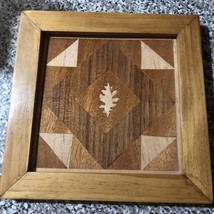 handcrafted Wood Inlay quilt pattern under the oak with Oak Frame 8 x 8 ... - $38.79