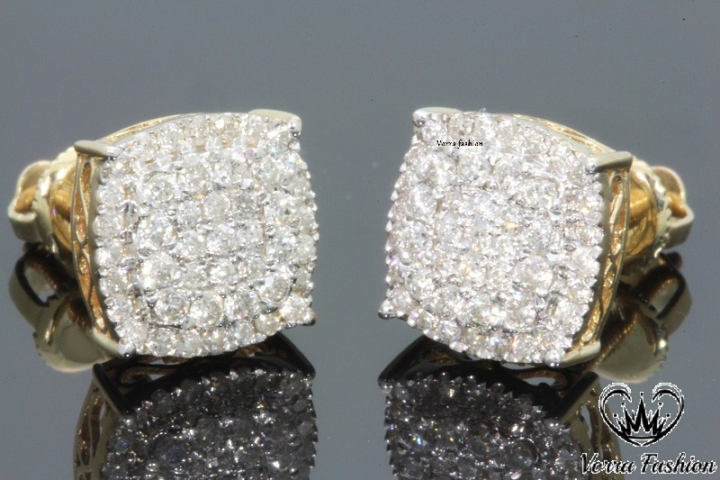 Primary image for Mens Ladies Stud Earrings Round 1.26Ct.Diamond 18k Yellow Gold Plated 925 Silver