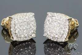 Mens Ladies Stud Earrings Round 1.26Ct.Diamond 18k Yellow Gold Plated 92... - £69.85 GBP