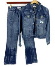 VTG 90s Baby Phat Jean Jacket (M) & Jeans (5) Blue Ombré Flare Leg Stretch - $49.50