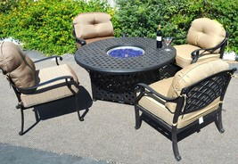 Outdoor fire pit propane table 5 pc dining set patio furniture Nassau aluminum image 2
