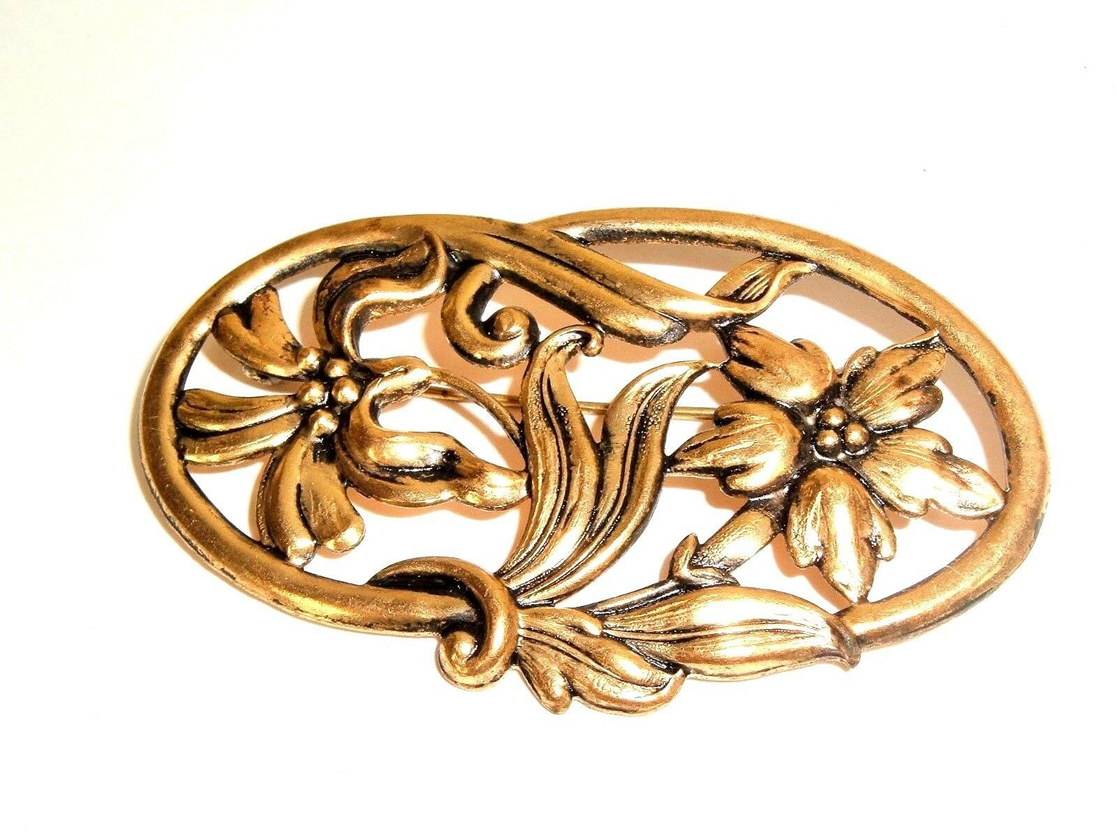 Primary image for Vintage Victorian Edwardian Gold Tone Repousse Floral Design Brooch