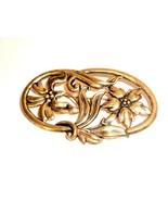 Vintage Victorian Edwardian Gold Tone Repousse Floral Design Brooch - $14.85
