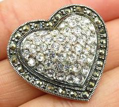 925 Sterling Silver - Vintage Marcasite & CZ Love Heart Brooch Pin - BP2219 - $83.28