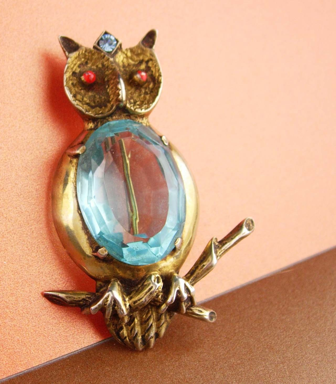 huge sterling pin - blue Jelly belly Owl Brooch - vintage bird pin Figural fine  image 4
