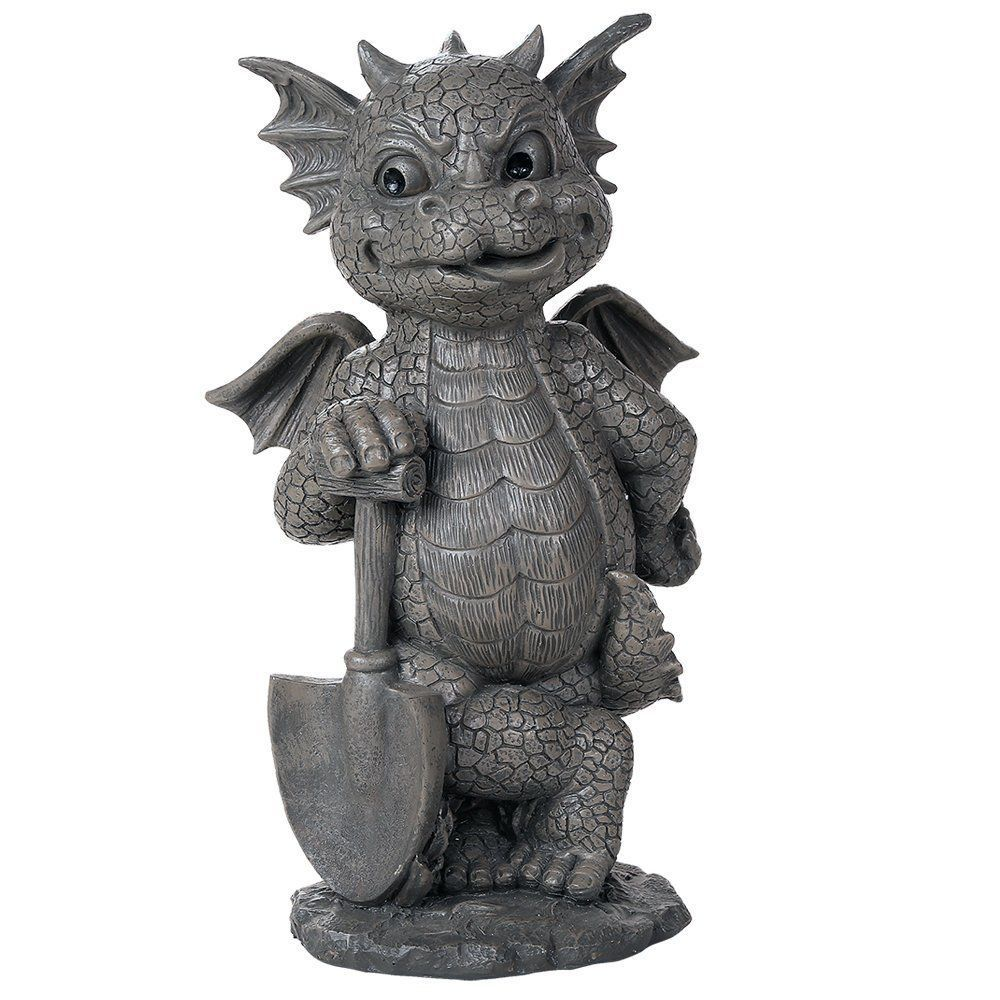 Primary image for Green Thumb Gardener Dragon Decorative Garden Sculpture Stone finish 10""
