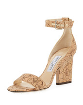 Jimmy Choo Edina Etched Cork Ankle-Wrap Sandals Shoes 36.5 - $395.99