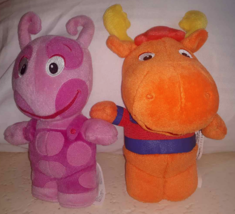 Backyardigans Tyrone Moose & Pink Uniqua Stuffed Animal Plush Fisher Pri... - $13.86