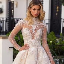 New Top Celeb Luxury A-Line Princess Ball Gown Long Sleeve Lace Appliques High D image 6