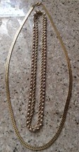 """Three Different Vintage Gold Tone Necklaces. Two16"""" Twists & a 20"""" Herri... - $14.24"""