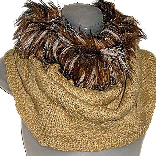 Primary image for Woven Cable Knit Tube Infinity Loop Tan Cowl Neck Scarf w/Faux Fur Trim Wrap