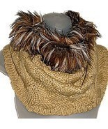 Woven Cable Knit Tube Infinity Loop Tan Cowl Neck Scarf w/Faux Fur Trim ... - £15.67 GBP