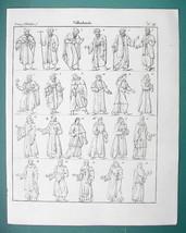 RELIGIOUS ORDERS Monks Jacobine Greek Coptic ST. Benoit - 1825 Antique P... - $19.80