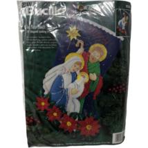 "VTG NIP Bucilla Felt Applique Holy Family 18"" Stocking 83385 Nativity Sealed  - $64.34"