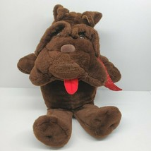 "Krinkles Brown Dog Plush Stuffed Animal Vintage Commonwealth Red Bow large 26"" - $29.02"