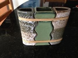"ceramic triple vase approximately 8"" x 8"" - $36.99"