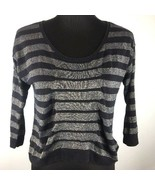 Sparkle Fade UO Womens Top Crop S Small Blue Gold Metallic Stripes 3/4 S... - $9.89
