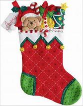 Bucilla Felt Stocking Kit, Holiday Teddy 18in embroidery XMAS, Christmas bear - $30.49