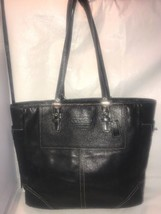 Coach Bleeker Hampton Leather Tote Shoulder Bag Purse F11397 BLACK. Z16 - $59.40