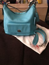 Authentic Coach 22381 legacy leather Courtney Hobo Bag tassels Robin Blue - $125.00