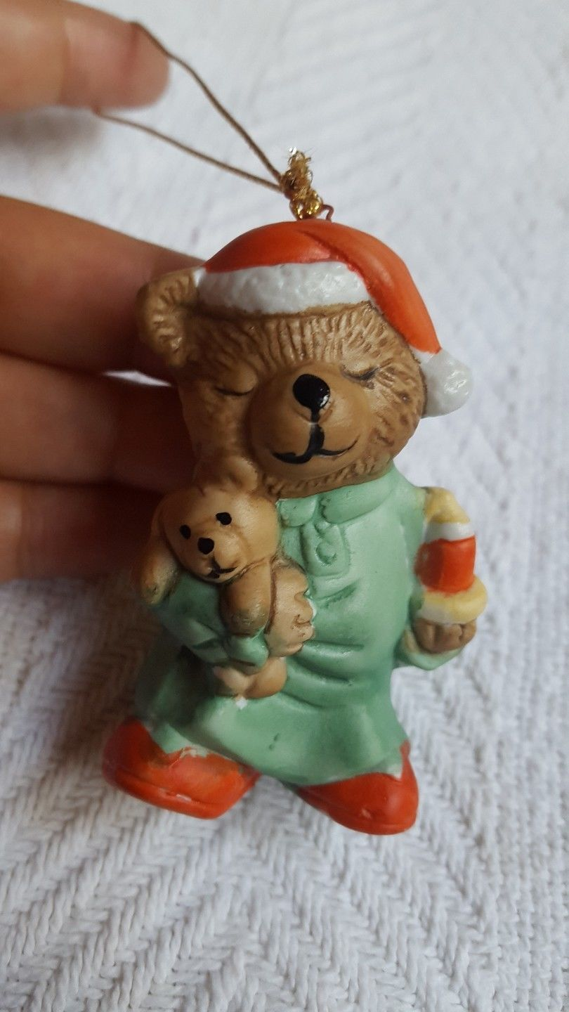 "Bear holding teddy bear w candle Christmas Tree Ornament • Pre-owned  2.5"" - $12.73"