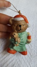 "Bear holding teddy bear w candle Christmas Tree Ornament • Pre-owned  2.5"" - $12.07"