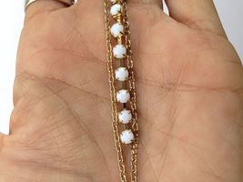 VTG Gold Chain Pearl Bead/White Opaque Rhinestones Long Dangle Pierced Earrings image 3