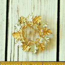 vintage Sarah Coventry gold silver leaf wreath flower brooch pin - $7.91