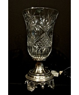 Shannon Crystal Electric Hurricane Lamp by Godinger Silver Plated  - $40.00