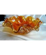 Vintage Imperial Glass Marigold Carnival Diamond Wedding Ring Fruit Ruff... - $99.00