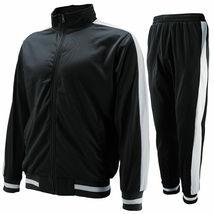 vkwear Men's Striped Athletic Running Jogging Gym Slim Fit Sweat Track Suit Set image 3