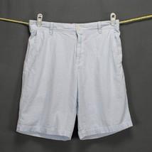 IZOD Mens Seersucker Shorts Sz 34 X 11 Flat Front Blue White Pinstriped ... - $14.50