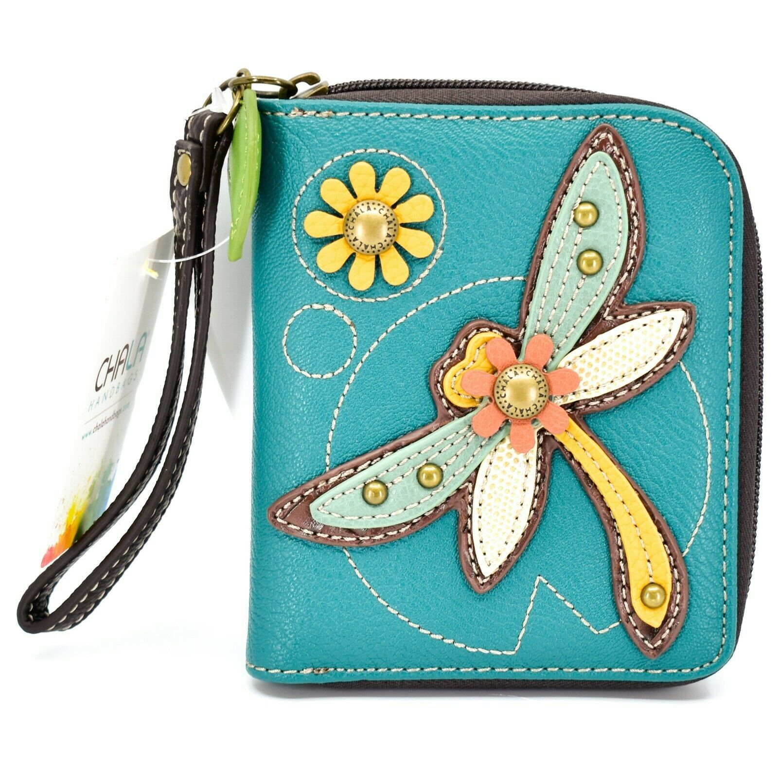 Chala Handbags Faux Leather Whimsical Dragonfly Zip Around Wristlet Wallet