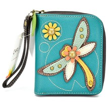 Chala Handbags Faux Leather Whimsical Dragonfly Zip Around Wristlet Wallet image 1