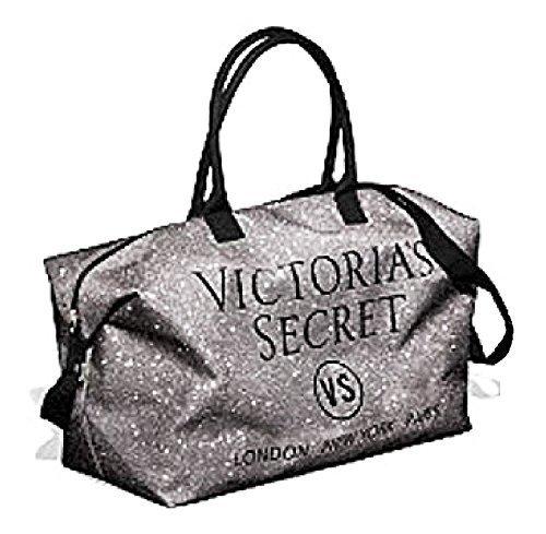 Victoria's Secret Silver Glitter Weekender Duffle Travel Bag