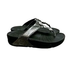 FitFlop Petra Thong Faux Snakeskin Jeweled Flip Flops Size Silver Size 7 - $32.19