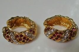Signed JBK Gold-tone Hot Pink/Fuchsia & Clear Rhinestone Hoop Earrings - $84.15