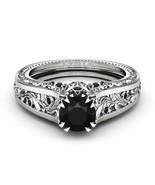 1 Carat Black Diamond Unique Engagement Ring Filigree Ring Black Diamond... - £69.34 GBP