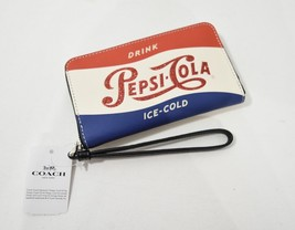 NWT Coach F26389 Leather Phone Wallet / Wristlet with Shimmery Pepsi Motif - $139.00