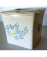 "Vintage Ceramic Tissue Box Holder 6.25"" x 6"" White Blue Yellow Flowers - $25.00"