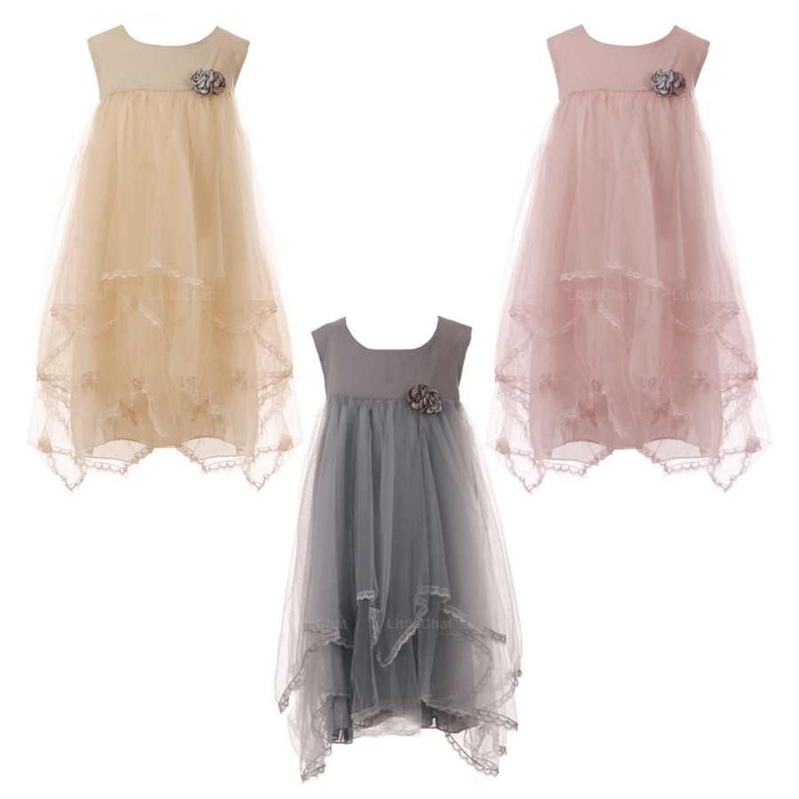 Gray Soft Tulle Babydoll Girl Dress with Two Tone Flower Brooches
